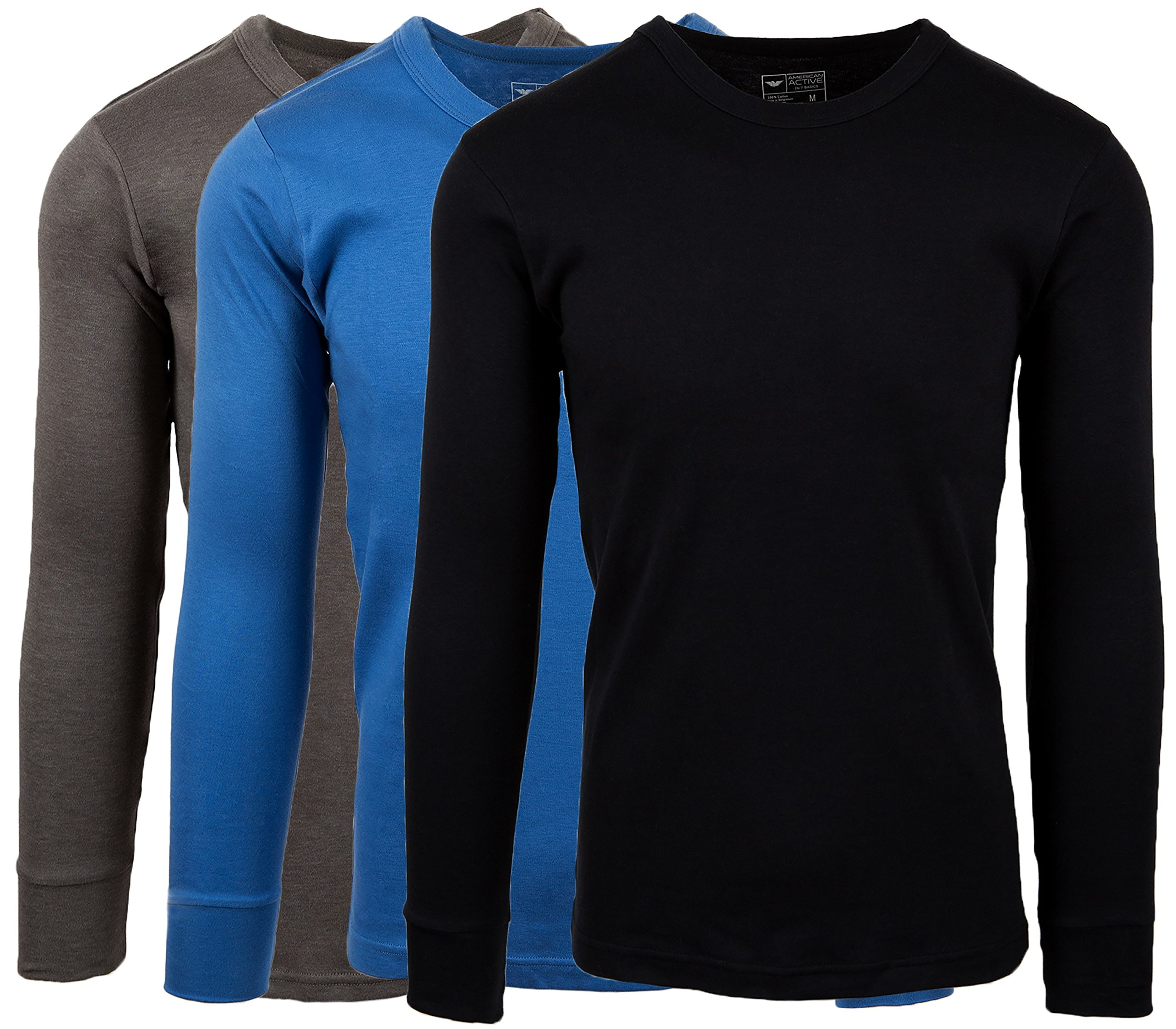 AMERICAN ACTIVE Men's 3 Pack 100% Cotton Fleece Lined Base Layer Long Sleeve Thermal Crew Neck Shirt (3 Pack-Denim/Charcoal/Black, XX-Large) by AMERICAN ACTIVE