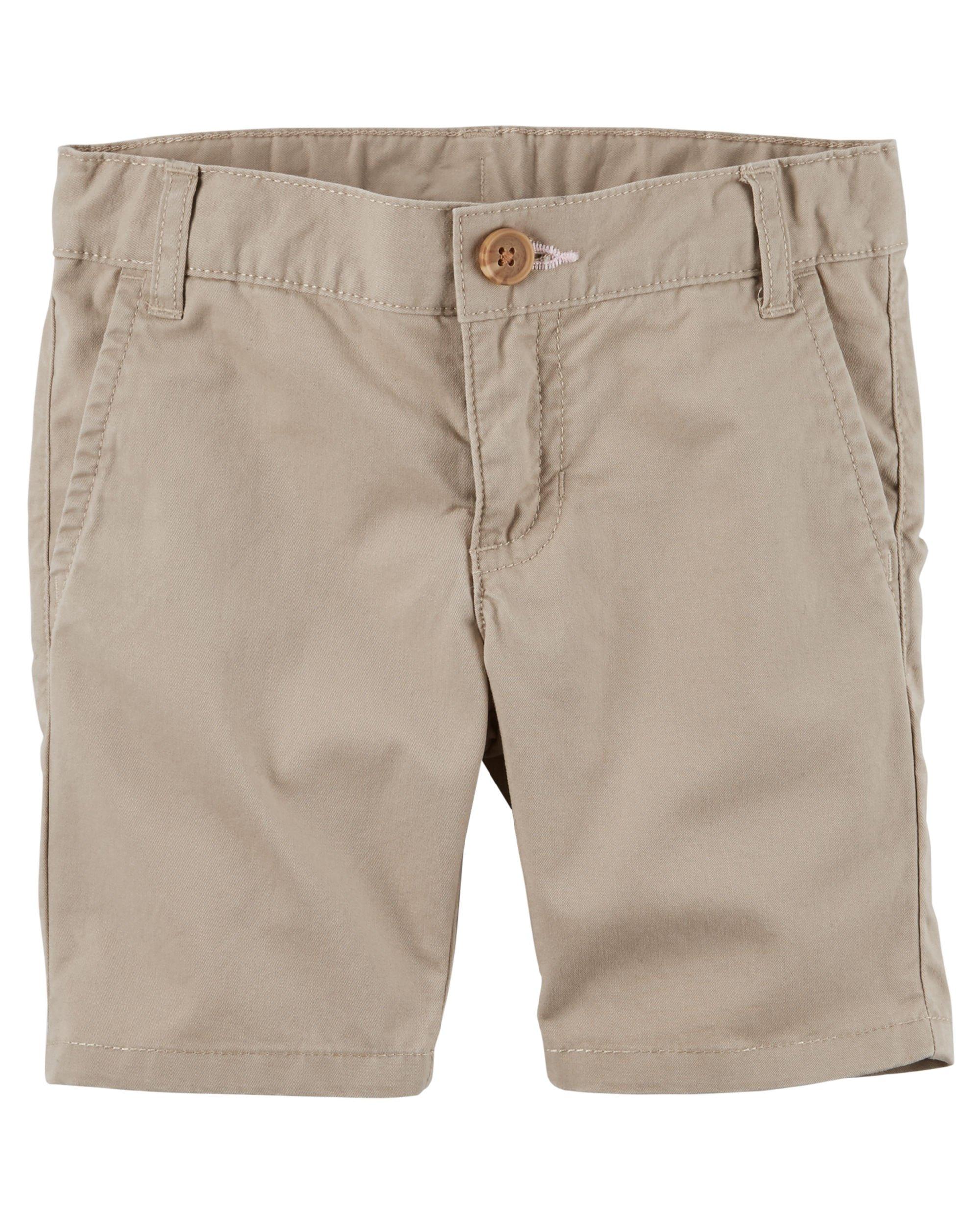 Carter's Girl's Khaki Button Front Cotton Shorts (2T)