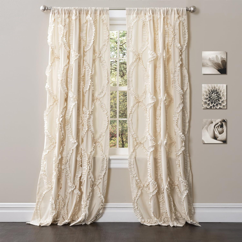 "Lush Decor Avon Window Curtain Ivory Panel for Living, Dining Room, Bedroom (Single)), 84"" x 54"","