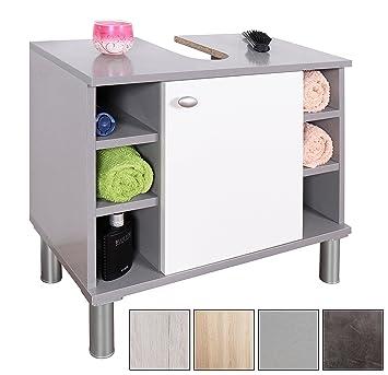 RICOO Armario bajo Lavabo Mueble baño Ancho 60cm WM100-PL-W portaoggetti Moderno Base armadietto para lavadino con Estante decoración Interior/Madera en ...