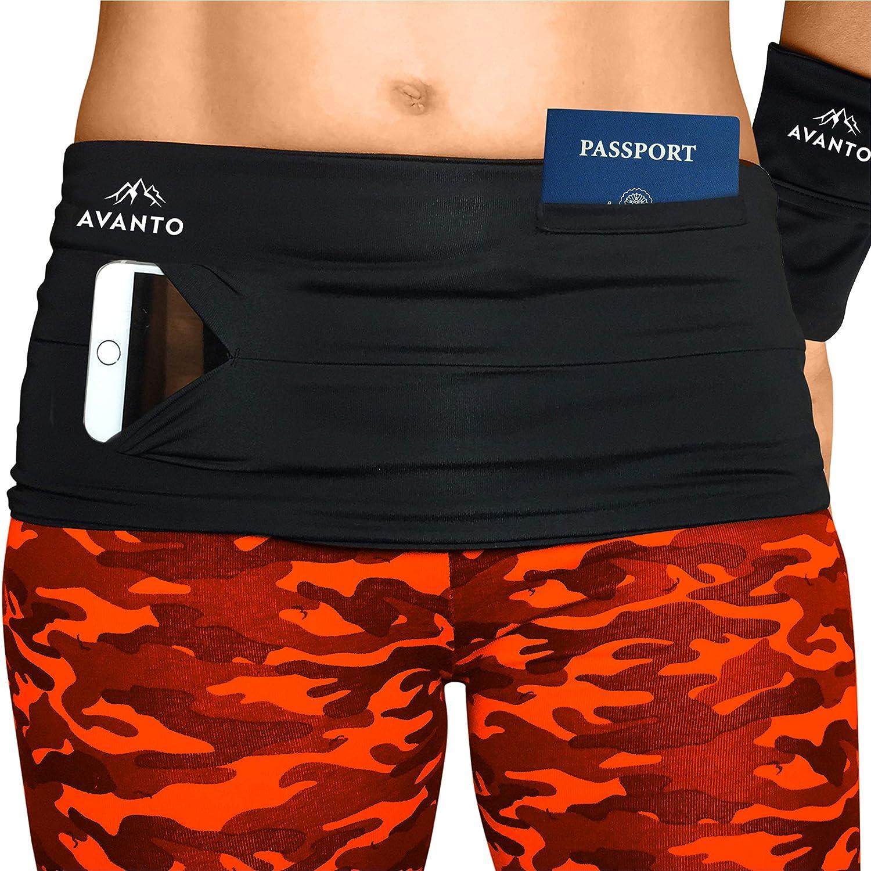 Avanto Lifestyle Slimfit Travel Money Belt with Zippered Wrist Wallet for Travel Running Belt Passport Holder Phone Holder for Running Waist Bag Fanny Packs for Women and Men