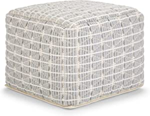 SIMPLIHOME Noreen Square Pouf, Footstool, Upholstered in Light Blue and White Cotton Handloom Woven Pattern, for the Living Room, Bedroom and Kids Room, Transitional, Modern