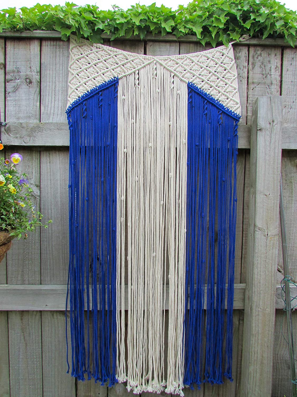 Egret Design Macrame Door Curtain, Wall Hanging Decor, Wedding Backdrop. Beautiful Design, Quality Finish, Handmade from 100% Cotton Rope. Blue Detail. 2 Tie Backs. 29.5''W x 59''L. Boho Home