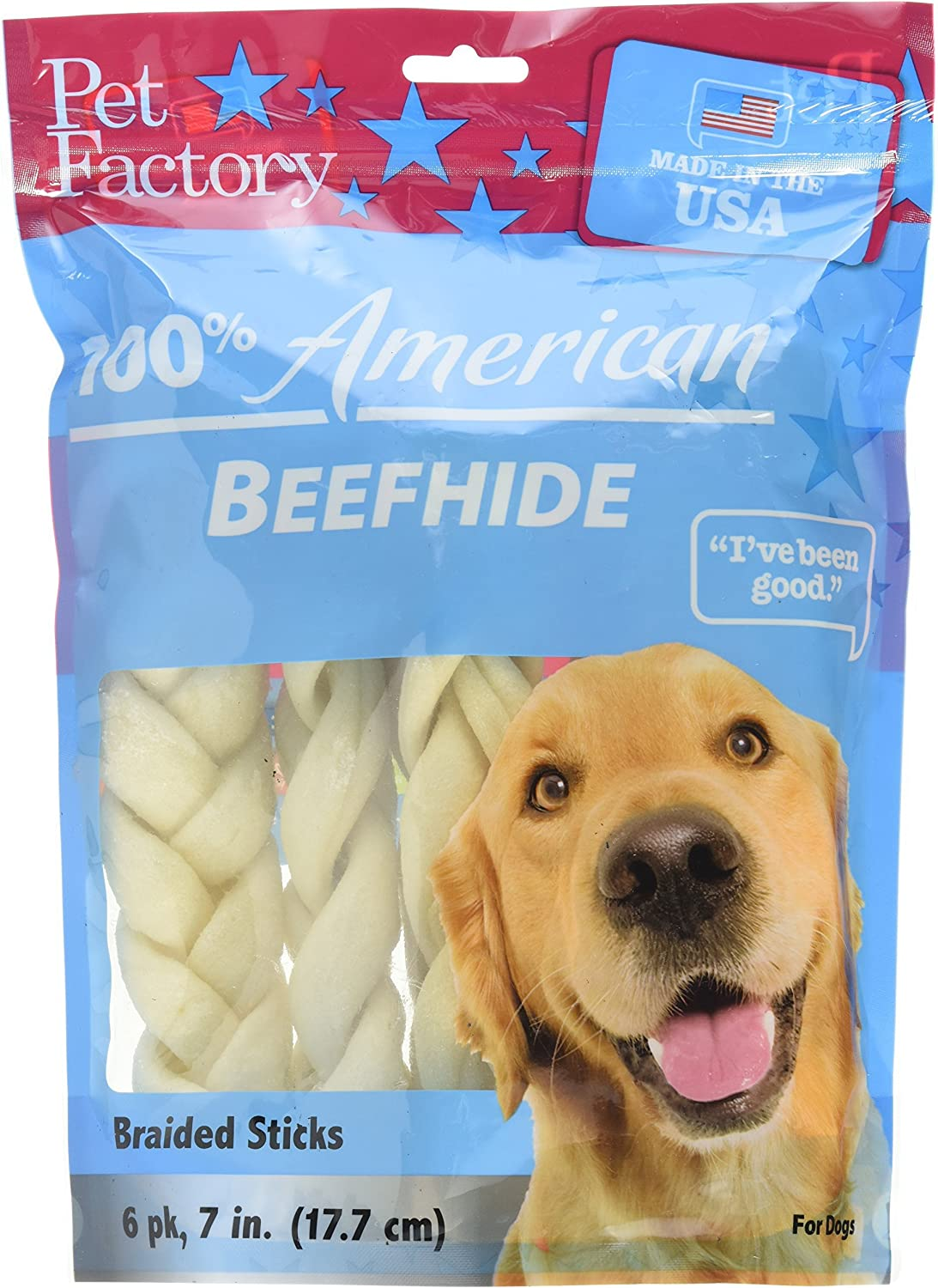 """Pet Factory Beefhide Braided Sticks 78105 Made in USA, Handmade, Digestive 7-8"""" Medium Braids Dog Treats from American Feeder Cattle, Improves Gums & Dental Health (Pack of 6) Resealable Package"""