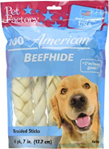 "Pet Factory Beefhide Braided Sticks 78105 Made in USA, Handmade, Digestive 7-8"" Medium Braids Dog Treats from American Feeder Cattle, Improves Gums & Dental Health (Pack of 6) Resealable Package"