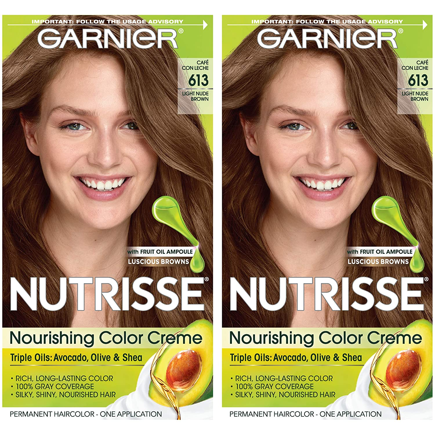 Amazon.com : Garnier Hair Color Nutrisse Nourishing Hair Color Creme, 613 Light Nude Brown, 2 Count : Beauty