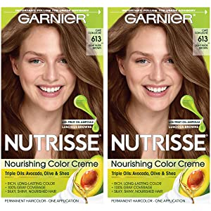 Garnier Nutrisse Nourishing Permanent Hair Color Cream, 613 Light Nude Brown (2 Count) Brown Hair Dye