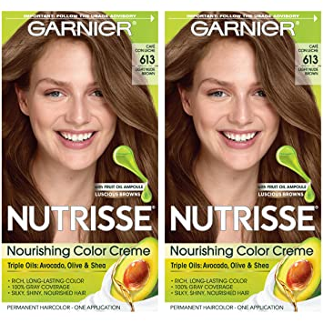 Garnier Hair Color Nutrisse Nourishing Hair Color Creme, 613 Light Nude Brown, 2 Count