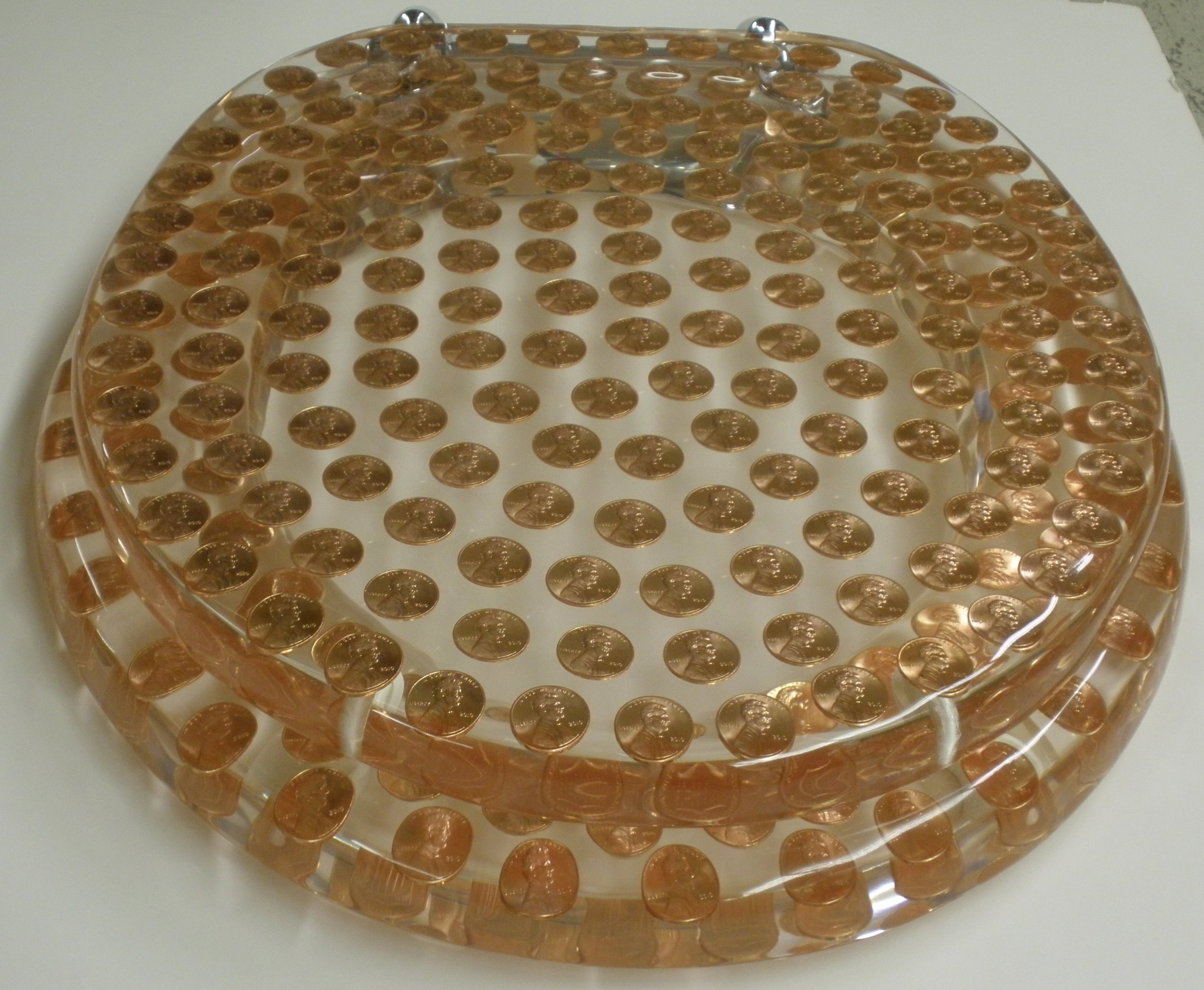 REAL U.S. PENNIES COINS MONEY LUCITE RESIN TOILET SEAT , Elongated Size Penny Toilet Seat (14.5'' x18'') by Centur (Image #3)