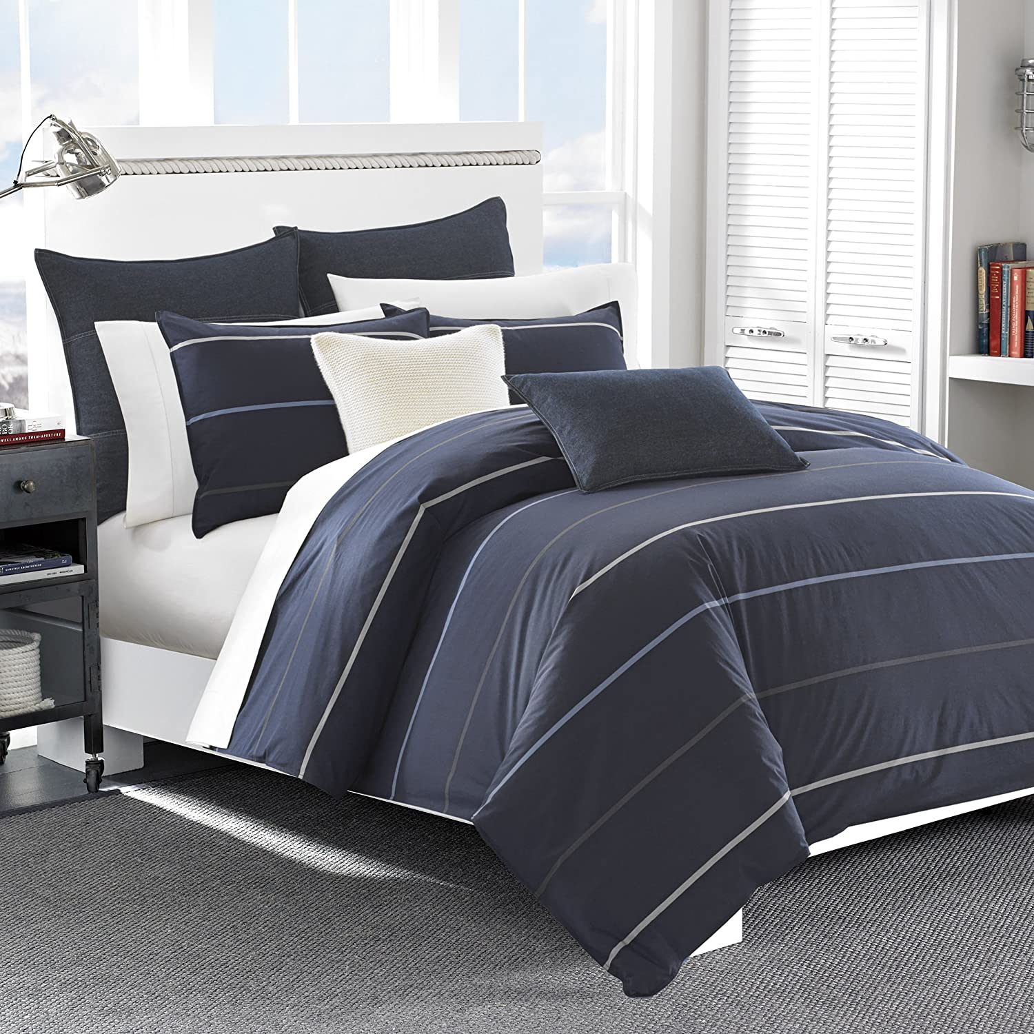 Nautica 217309 Southport Cotton Comforter Set, Full/Queen, Blue/White