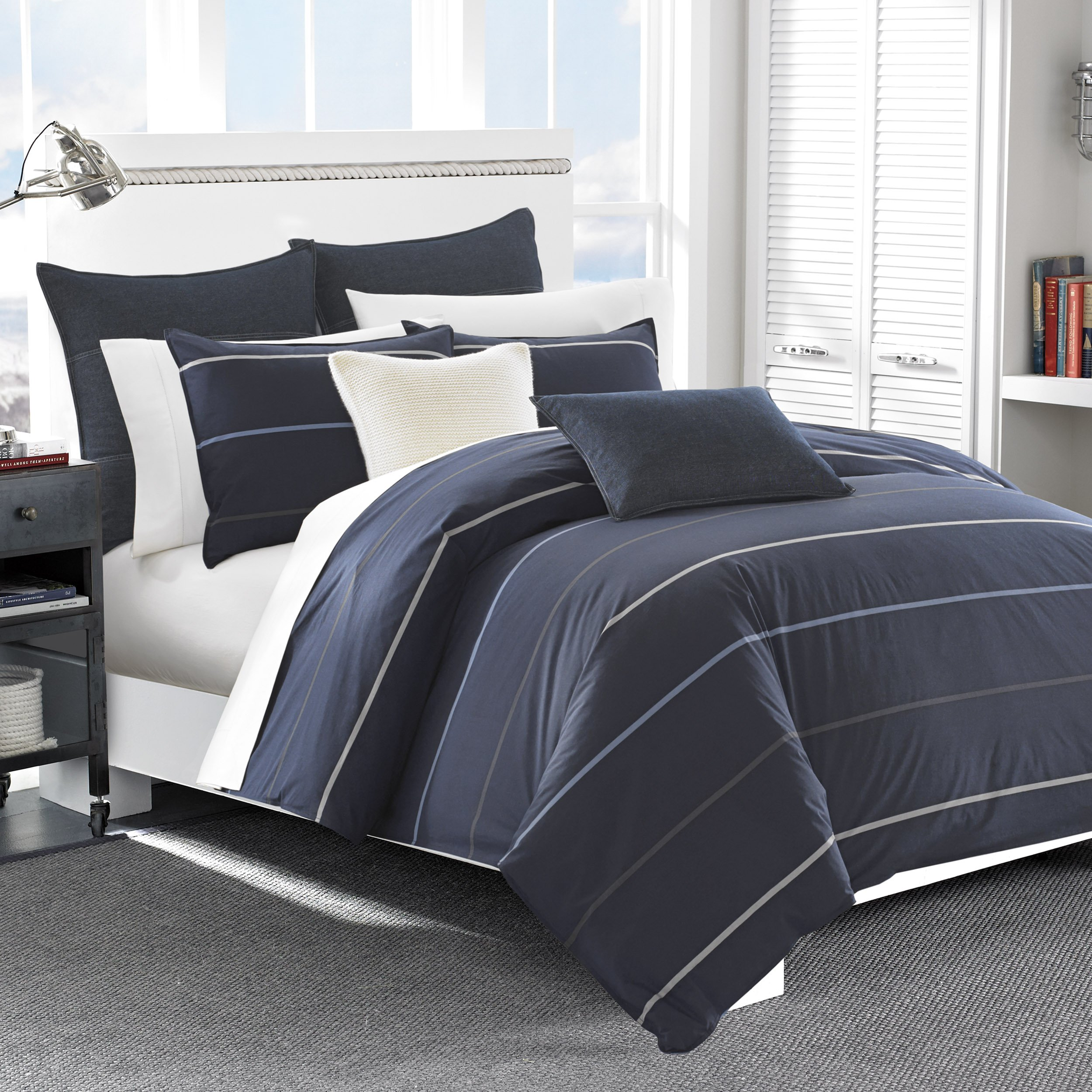 Nautica Southport Cotton Comforter Set, Full/Queen, Blue/White