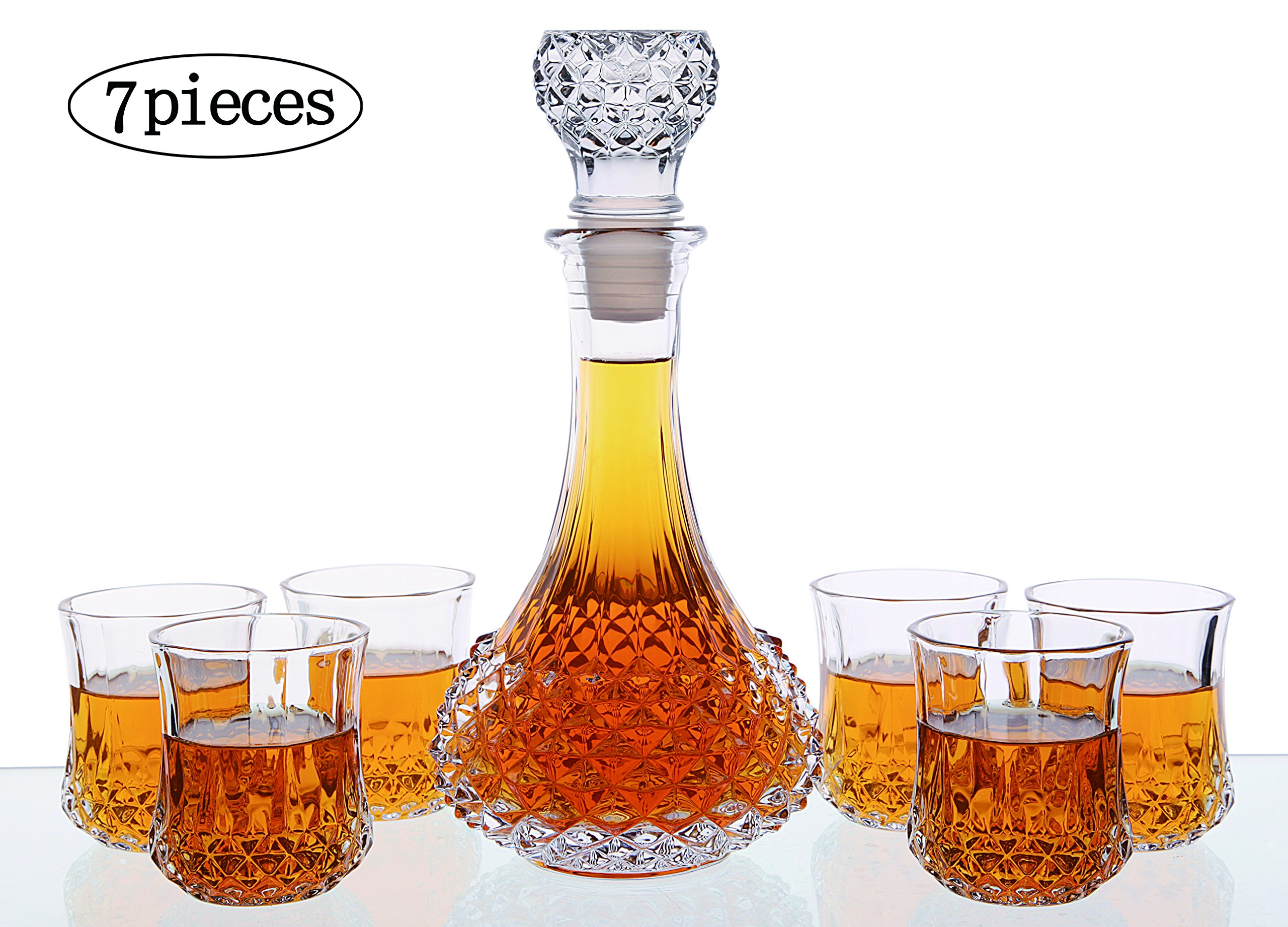 Whiskey Decanter And Glasses Bar Set, Includes Whisky Decanter And 6 Cocktail Glasses - 7 Piece Set Barware Gift for Men