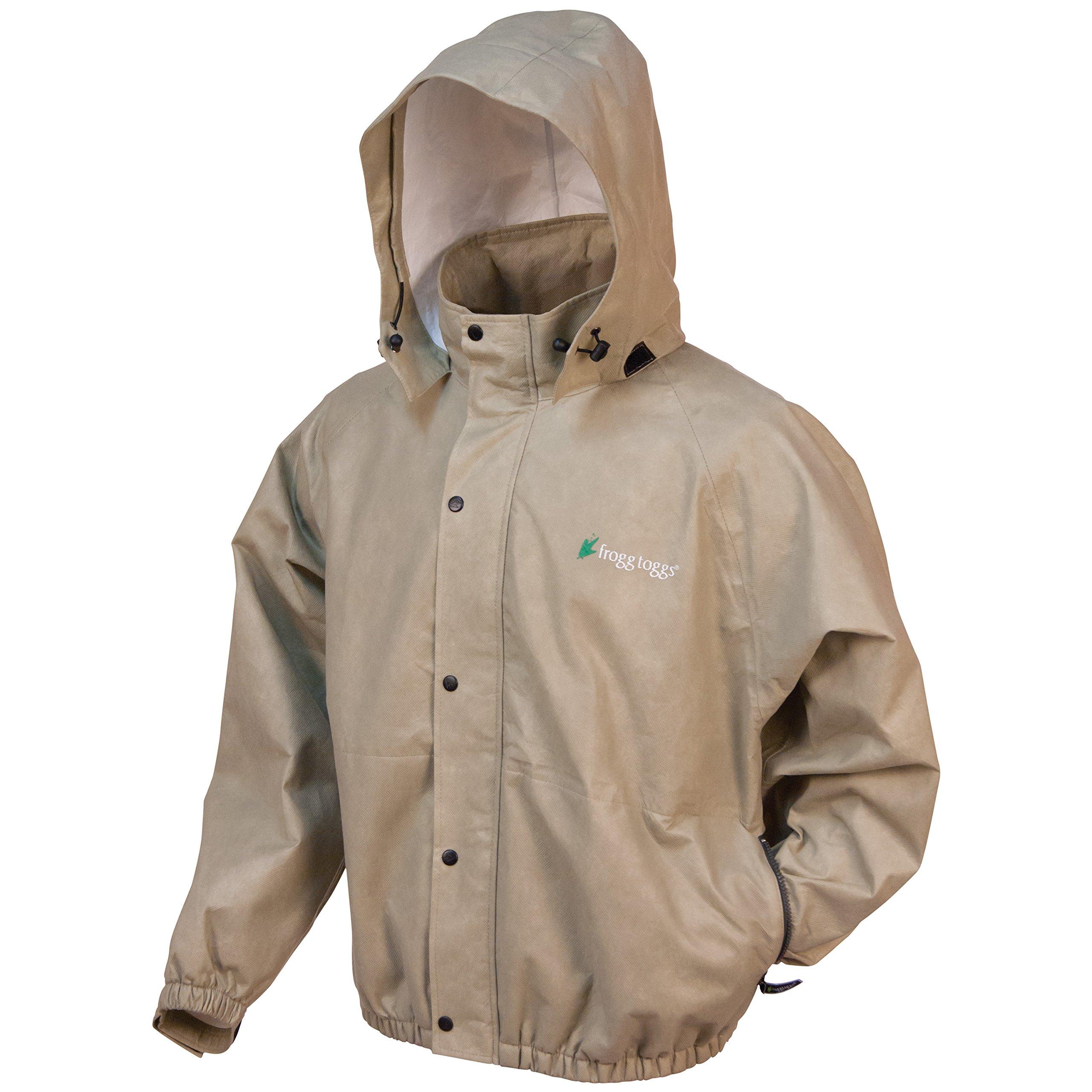 Frogg Toggs Classic Pro Action Rain Jacket with Pockets, Khaki, Size Small