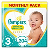 Pampers Premium Protection Size 3, 204 Nappies, 6-10 kg, Monthly Pack