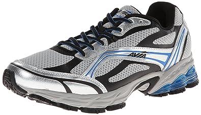 AVIA Mens Pulse Trail Running Shoe, Chrome Silver/Black/Brilliant Blue, 7