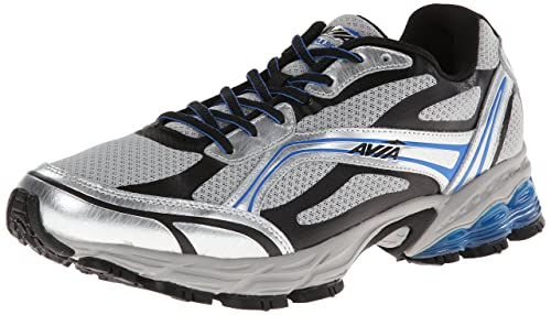 AVIA Mens Pulse Trail Running Shoe, Chrome Silver/Black/Brilliant Blue, 7