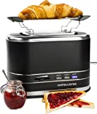 Andrew James Lumiglo 2 Slice Toaster in Black - 3.6cm Wide Slots Removable Crumb Tray Adjustable Temperature Control Defrost & Reheat Functions - Stainless Steel Warming Rack & Cord Storage
