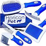 Horicon Pet 6 In 1 Premium Dog Brush Set - Dog Grooming Brushes - Ball Pin & Bristle Brush, Curved Blade Dematting Comb, Slic