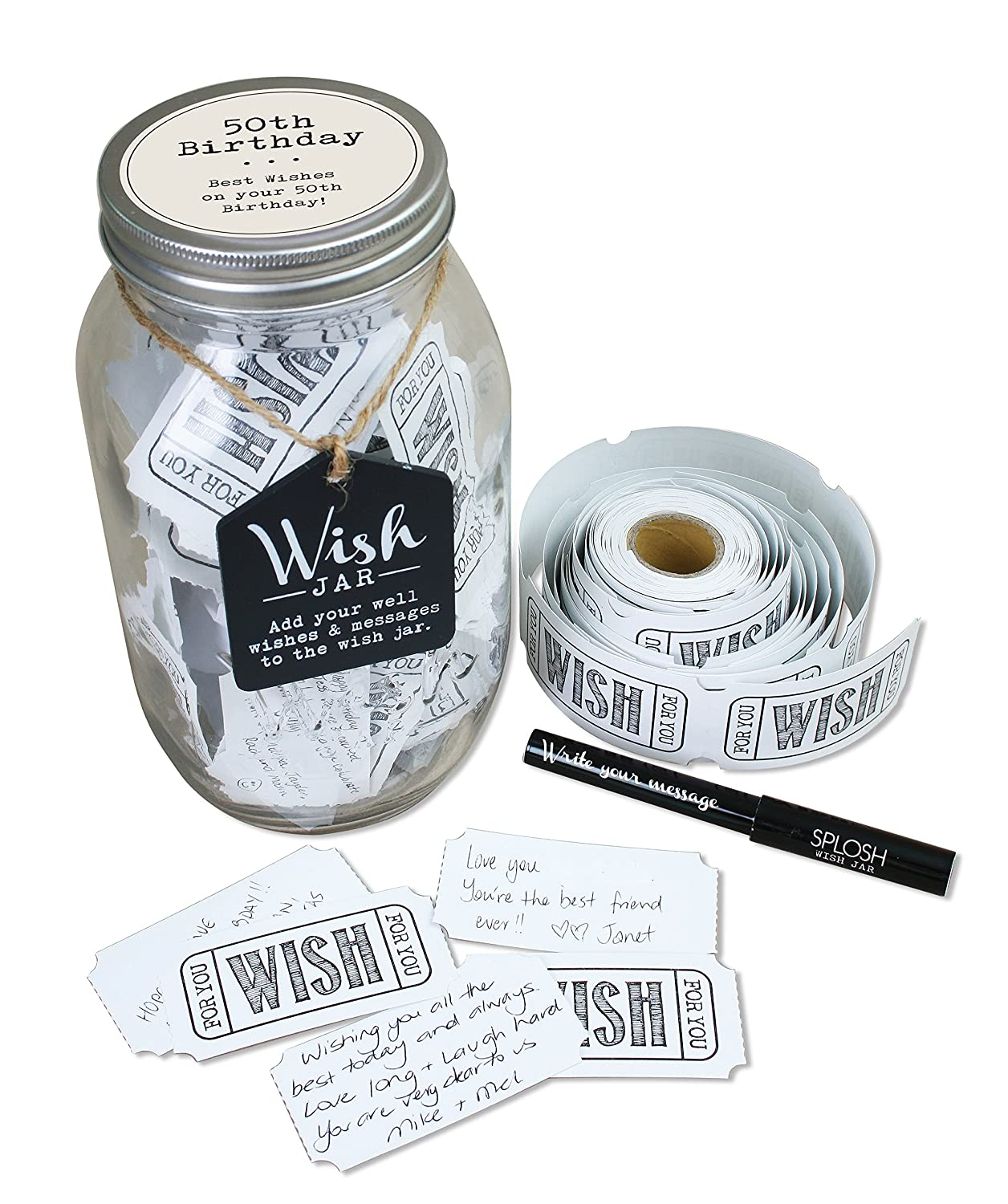 Top Shelf 50th Birthday Wish Jar Unique And Thoughtful Gift Ideas For Friends Family Memorable Mom Dad Grandma Grandpa Kit Comes