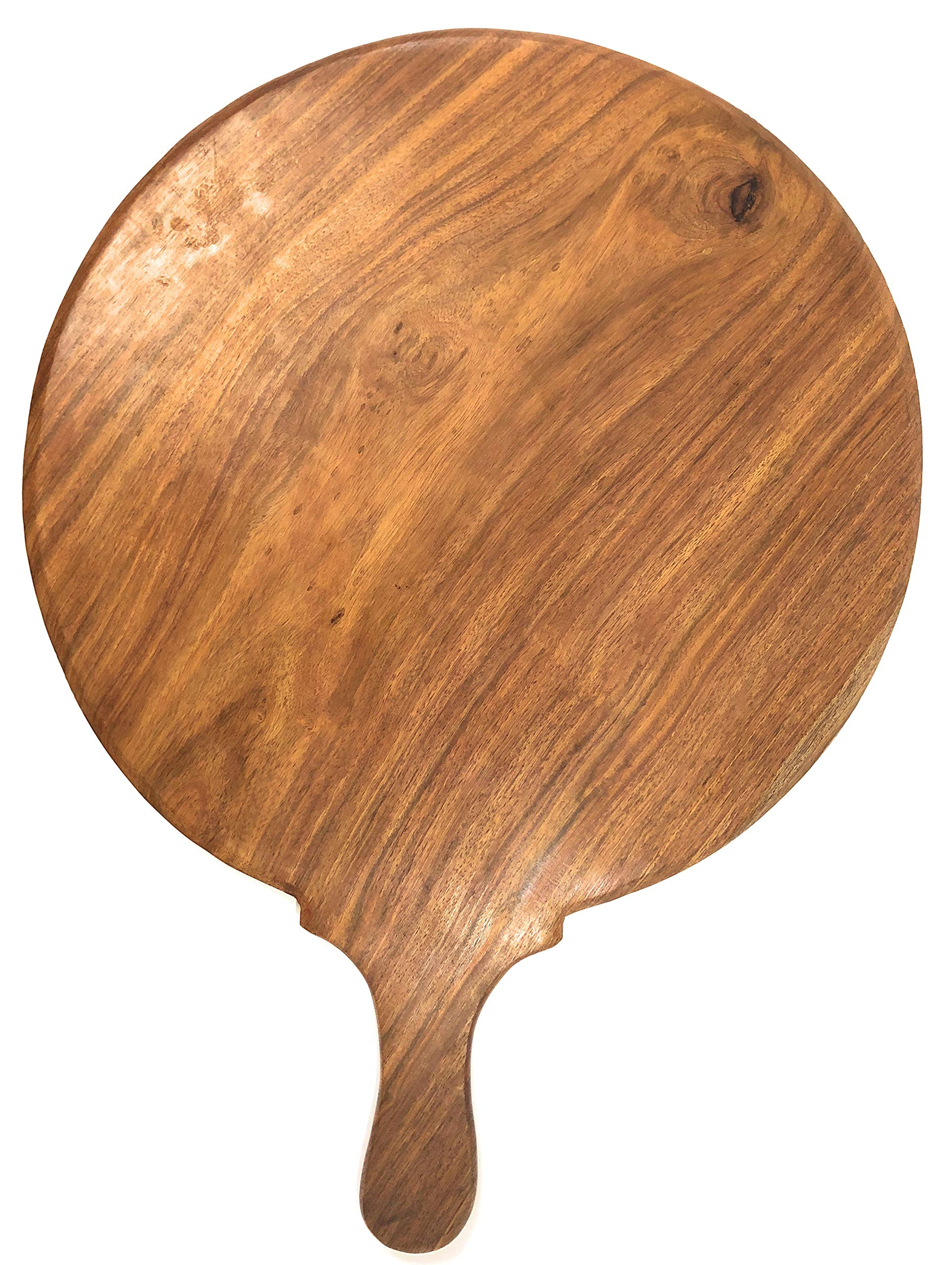 Wooden Peel/Board for Pizzas or Cheese, Handcrafted from a Single Piece of Indian Rosewood, Large in Size 14'' Diameter x 1/2'' Thin