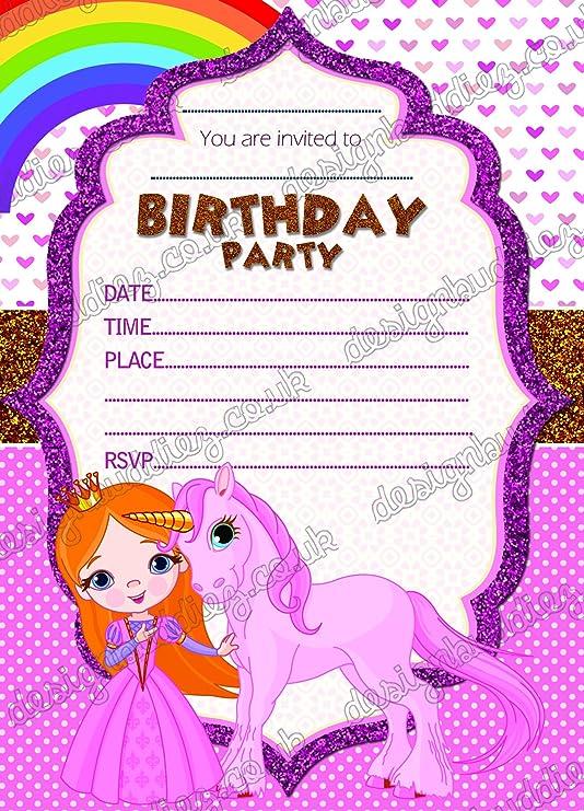 8 x las niñas fiesta Unicorn invitaciones tarjetas ...
