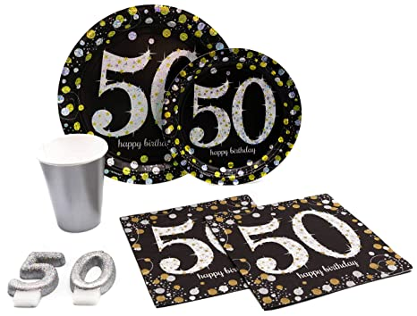 50th Birthday Pack Disposable Paper Plates Napkins Cups Candles Set For 15 With Free Extras