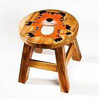 Tabouret solide pour enfant, bois, Motif: Tigre