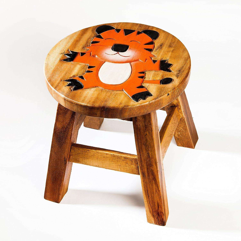 Robusto Sgabello per bambini, in legno, motivo: Tiger Fairentry
