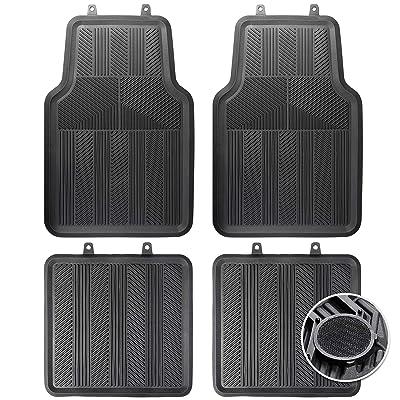 CARTMAN Non-Slip Car Floor Mat, Flexible Rubber, Black: Automotive