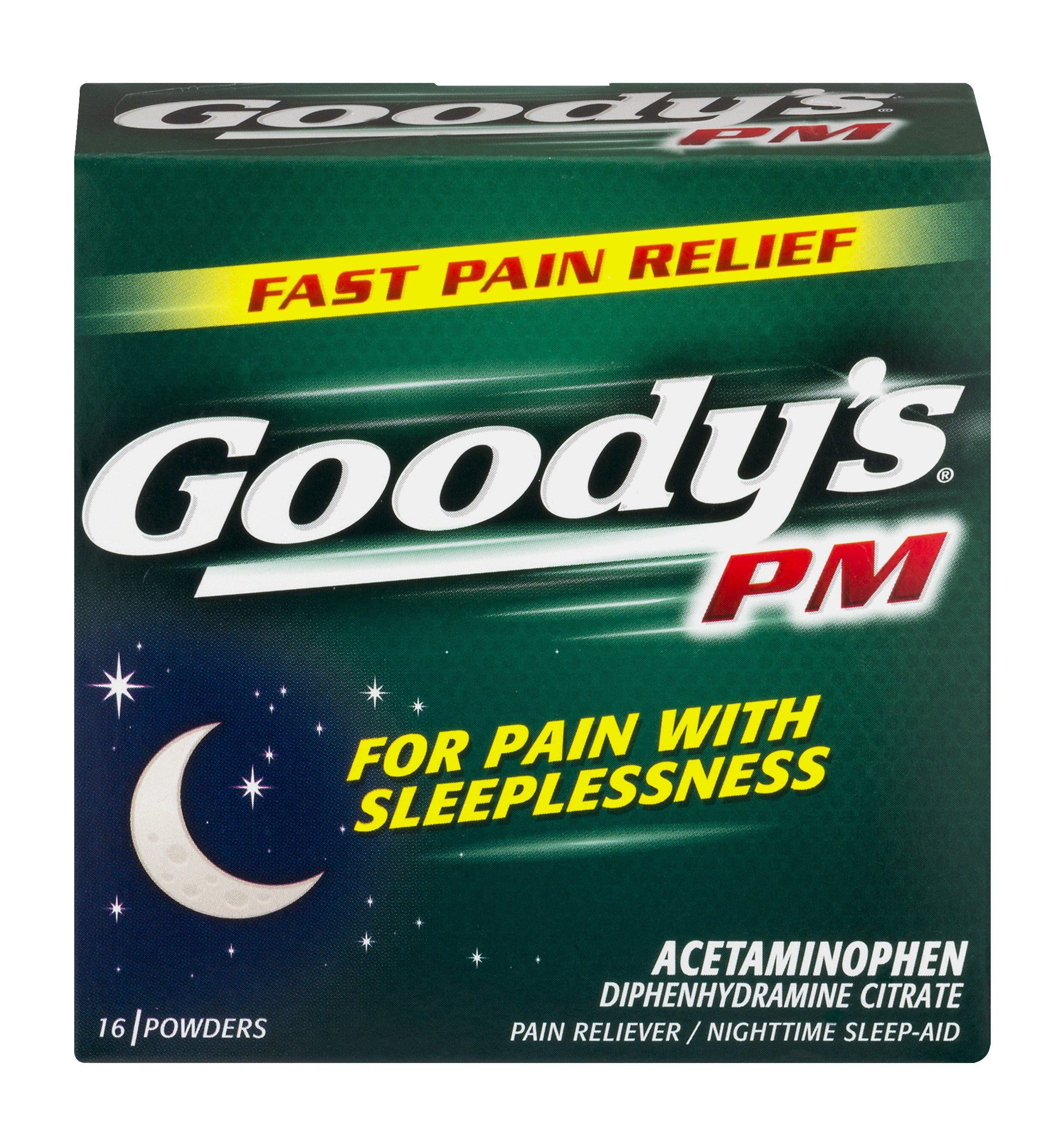 Goody's PM Powders | Pain Reliever + Nighttime Sleep Aid | 16 Count | Pack of 1