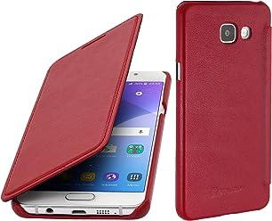 StilGut Book Type Case Senza Clip, Custodia in Vera Pelle per Samsung Galaxy A3 (2016), Rosso Nappa
