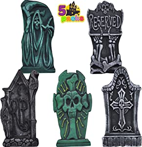 "17"" Halloween Foam Graveyard Tombstone (5 Pack), Headstone with Different Styles and Bonus Metal Stakes for Halloween Yard Decorations"