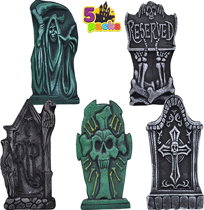 """17"""" Halloween Foam Graveyard Tombstone (5 Pack), Headstone with Different Styles and Bonus Metal Stakes for Halloween Yard Decorations"""