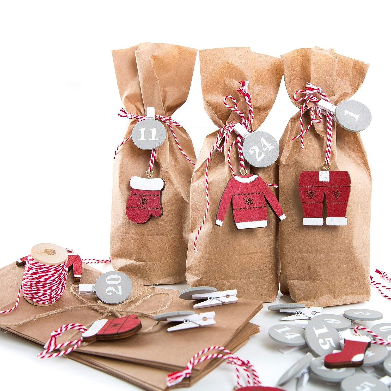 Calendrier de l'Avent avec pinces à chiffres de 1 à 24 et 25 petits sachets en papier kraft Rouge/marron/gris 10, 7 x 22 x 4, 2 cm avec étiquettes de Noël Jeanette Dietl