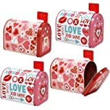 Valentine Mailbox 4 Mini Tins for Kids With Front Opening and Swinging Arm in 2 Valentine Cute Designs