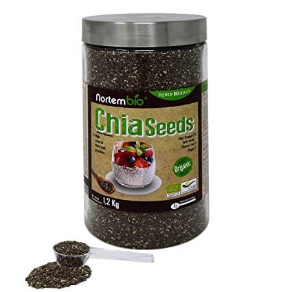 Semillas de Chia (Salvia hispanica) Natural NortemBio 1,2Kg, Calidad Premium.
