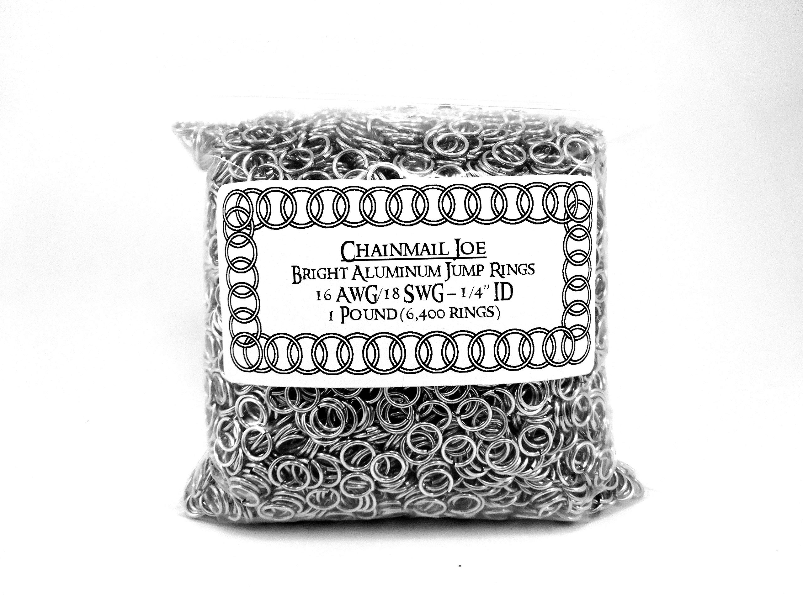 1 Pound Bright Aluminum Chainmail Jump Rings 18G 1/4'' ID (6400+ Rings!) by Chainmail Joe