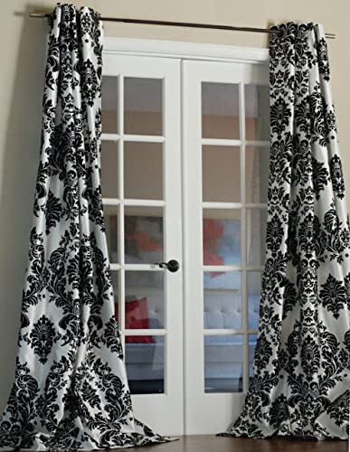 Lambrequin Venetian Damask Flock Faux Silk Curtain Panel