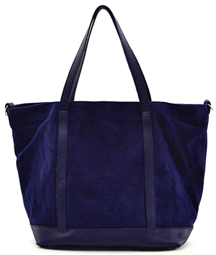 57cccc1963 OH MY BAG Sac à main cabas cuir nubuck Irupu bleu fonce: Amazon.fr ...