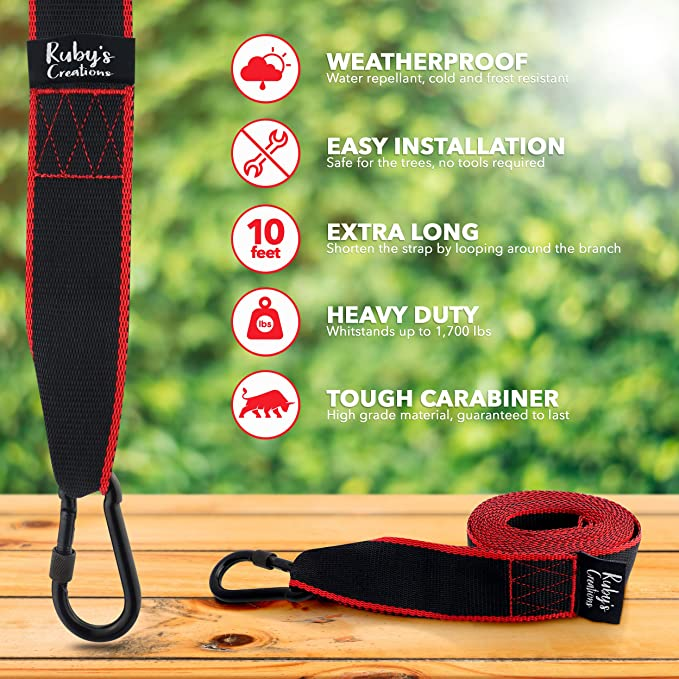 ZEXMTE Tree Swing Hanging Straps Kit Holds 2200 lbs,Two 5ft Straps with Safer Heavy Duty Carabiner and Swivel Hook,Perfect for Hammocks /& Most Swing Seats