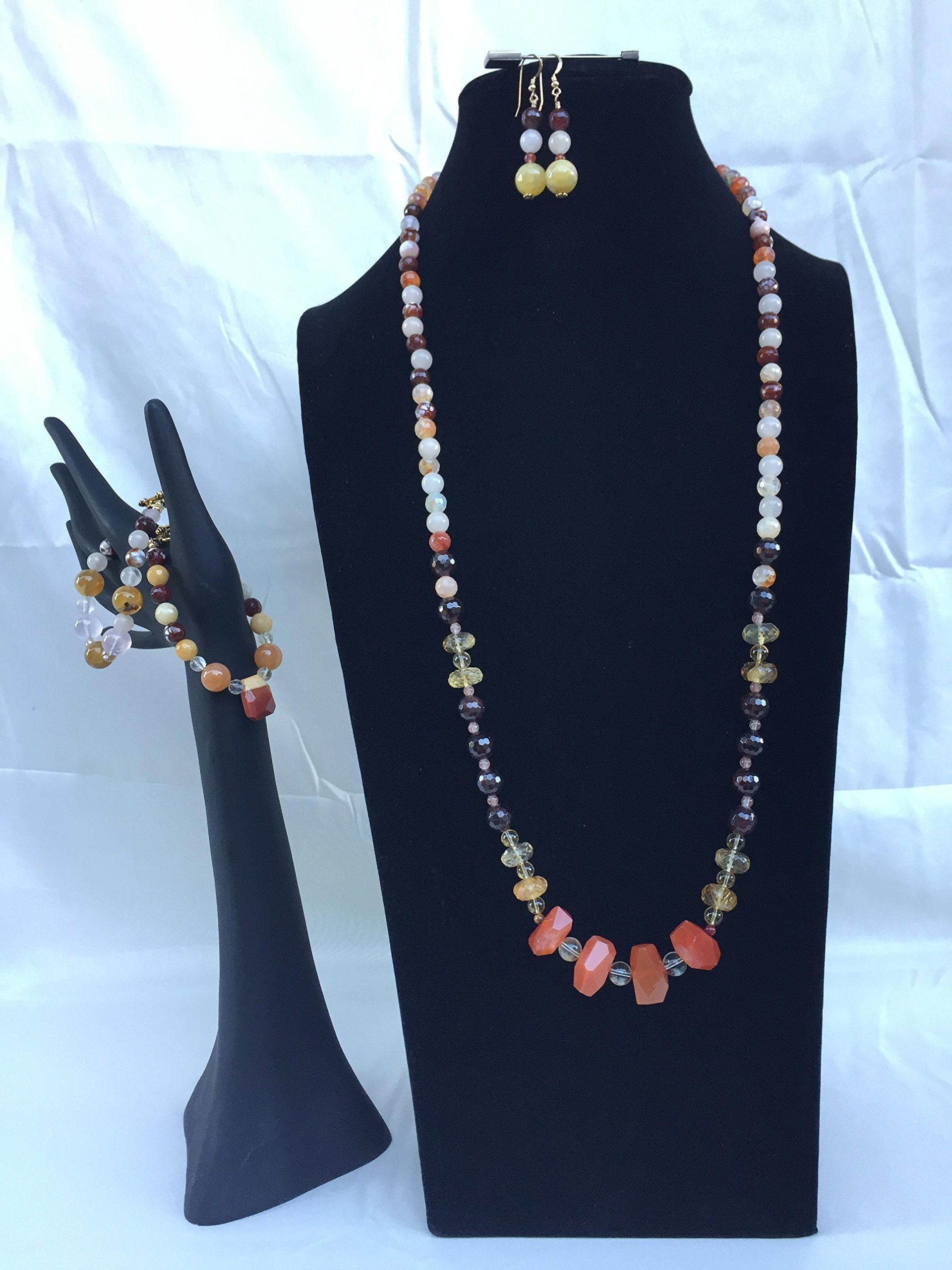 Stunning handmade jewelry set with a necklace, two bracelets and matching dangle earrings. Opal, Citrine, Garnet, and mixed gemstones. One of a kind