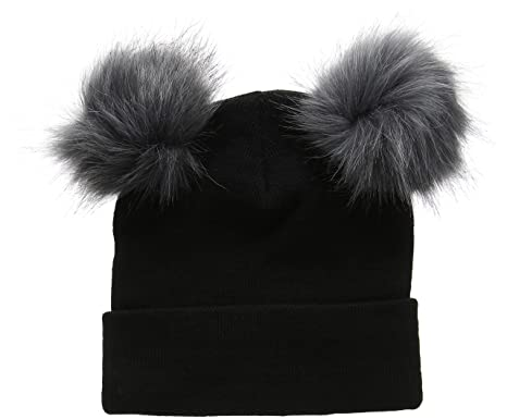 New Look Women s Double Faux Fur Pom Beanie bc11a08f958