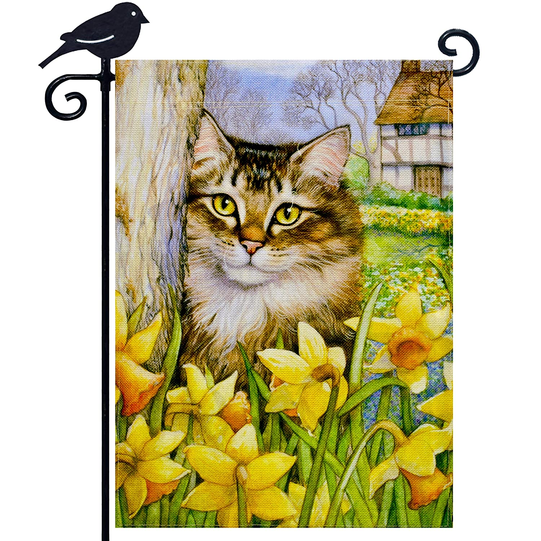 LAYOER Burlap Home Garden Flag 12.5 x 18 inch Double Sided Lovely Cat Kitten Yellow Flower Spring Summer Farmyard Outdoor Decoration Small Banner