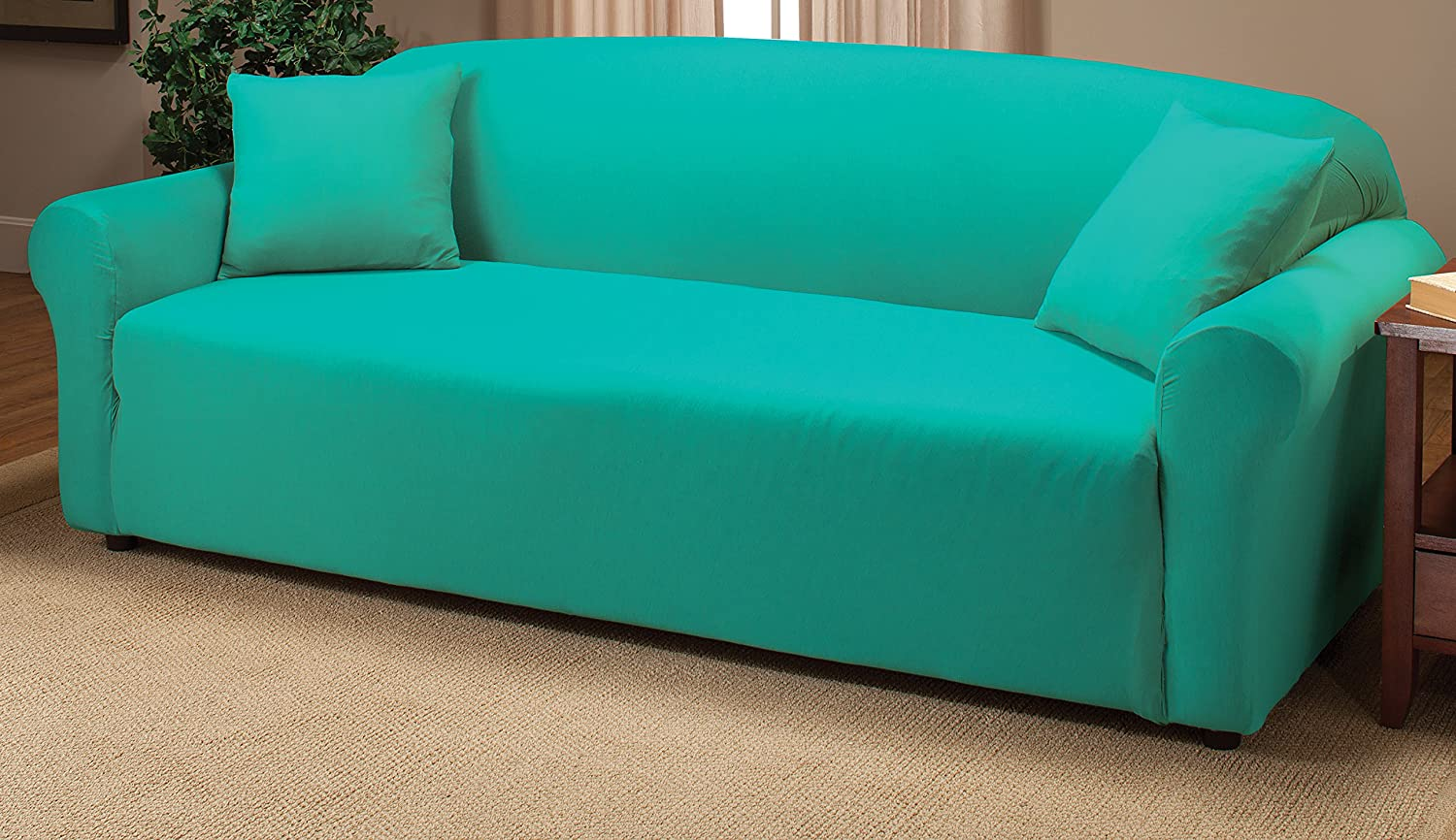 Teal colored sofa cover Blue loveseat slipcover