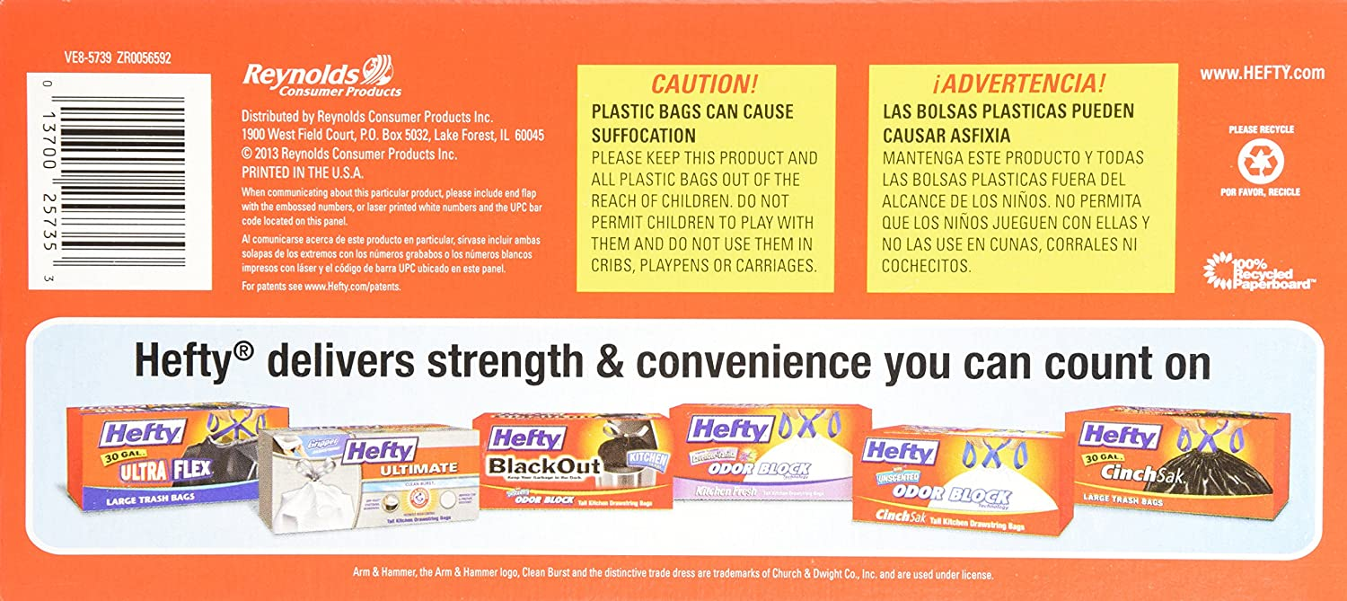 Hefty Recycling Trash Bags Clear, Drawstring, 30 Gallon, 28 Count, Pack of 6