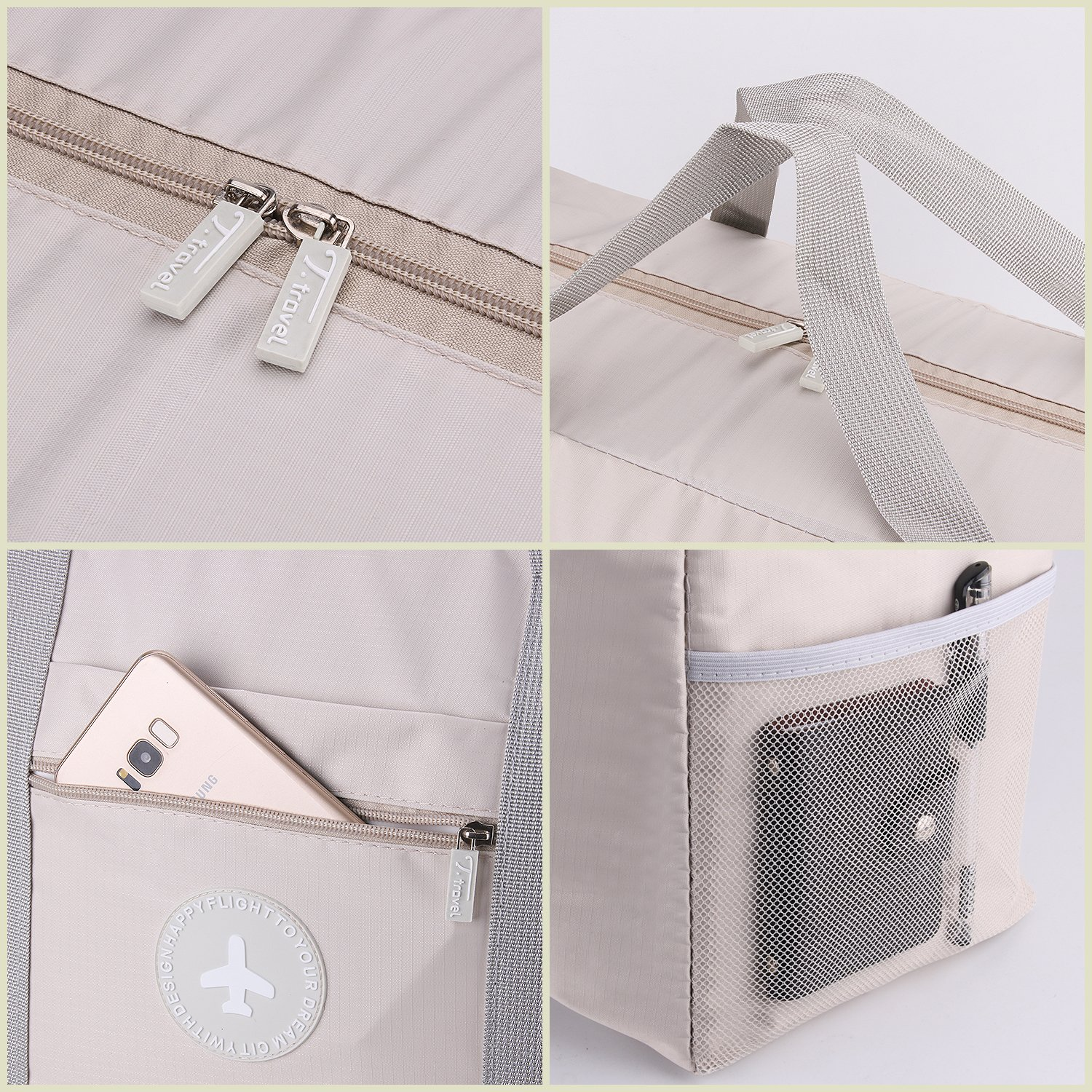 Foldable Travel Bag Waterproof Travel Tote Bag Foldable Bag Fully Lined with Gray Fabric (UPGRADE) by MuYiZi (Image #2)