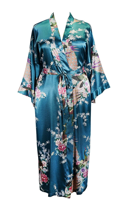9489b667e Amazon.com  838 - Plus Size Peacock Japanese Women Kimono Sleep Robe ...