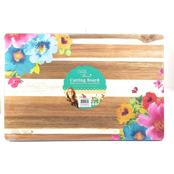 The Pioneer Woman Garden Party Floral 12x18 Acacia Wood Cutting Board Pick Color