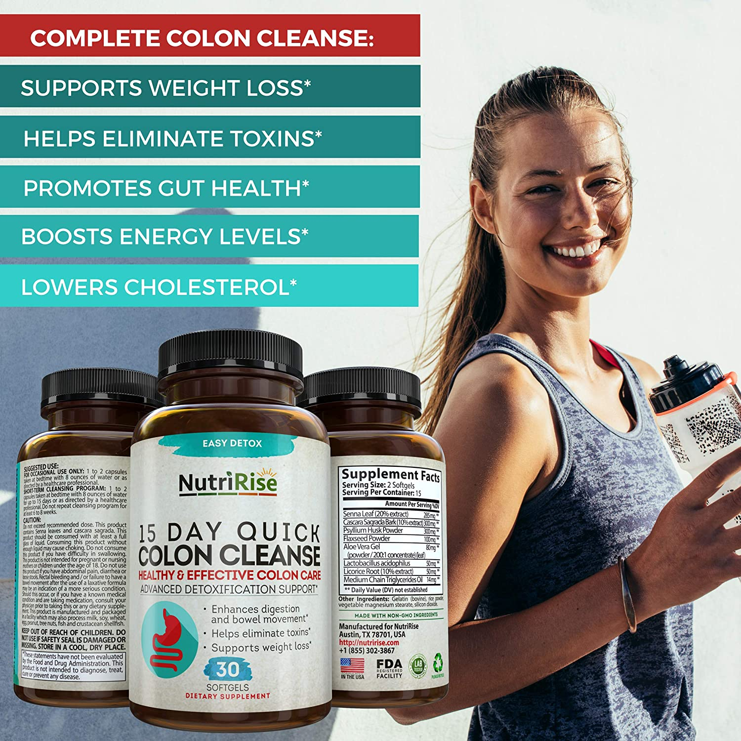 Colon Cleanser Detox for Weight Loss. 15 Day Fast-Acting Extra-Strength Cleanse with Probiotic & Natural Laxatives for Constipation Relief & Bloating Support. 30 Detox Pills to Detoxify & Boost Energy