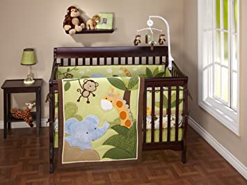 amazon com nojo little bedding jungle time 4 piece crib set